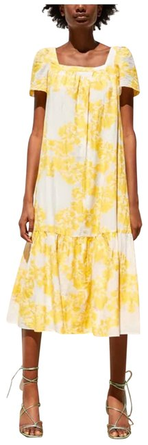 Item - Yellow Textured Weave Floral Midi Long Casual Maxi Dress Size 4 (S)