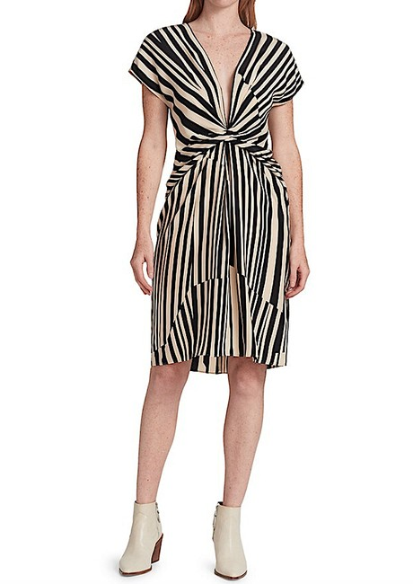 Item - Gold Stripe with Tag Silk Beatrice Mid-length Night Out Dress Size 4 (S)