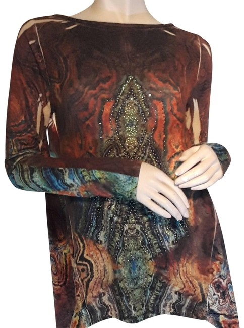 Item - Brown New Age Mix Media Knit Blouse Size 8 (M)