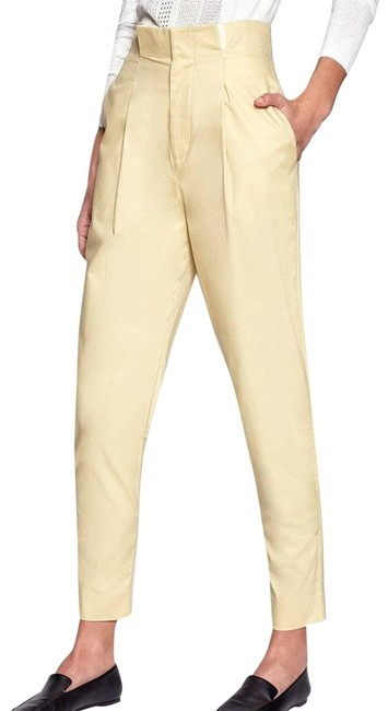 Item - Yellow Lucylle Paperbag Waist Cotton Pants Size 6 (S, 28)
