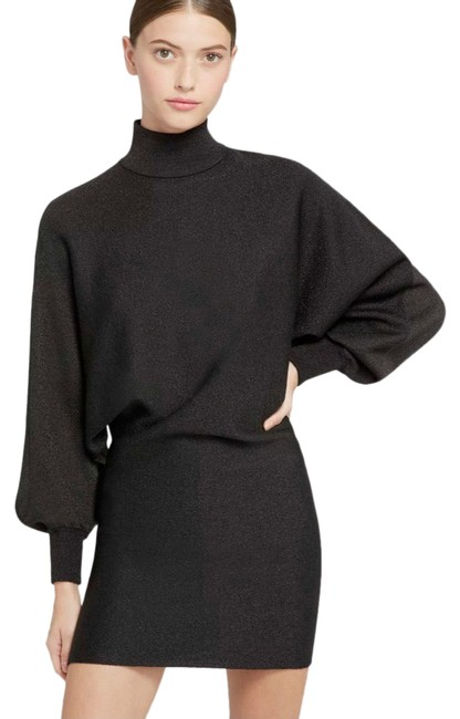 Item - Metallic Black Bari Turtleneck Shimmer Short Casual Dress Size 16 (XL, Plus 0x)