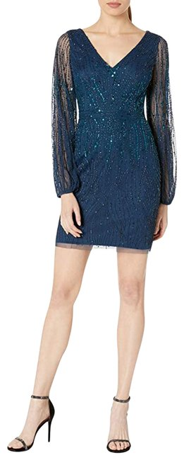 Item - Blue Beaded Sheath Bishop Sleeves Short Night Out Dress Size 2 (XS)