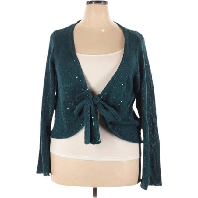Item - Green Knit Sequin Long Sleeve Front Cardigan Size 26 (Plus 3x)