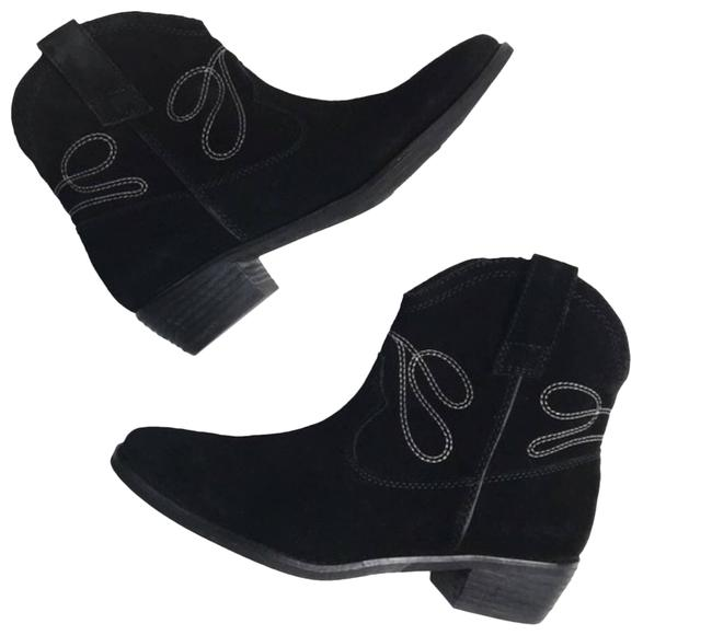 Item - Black Suede Embroidered Western Ankle Boots/Booties Size US 8 Regular (M, B)