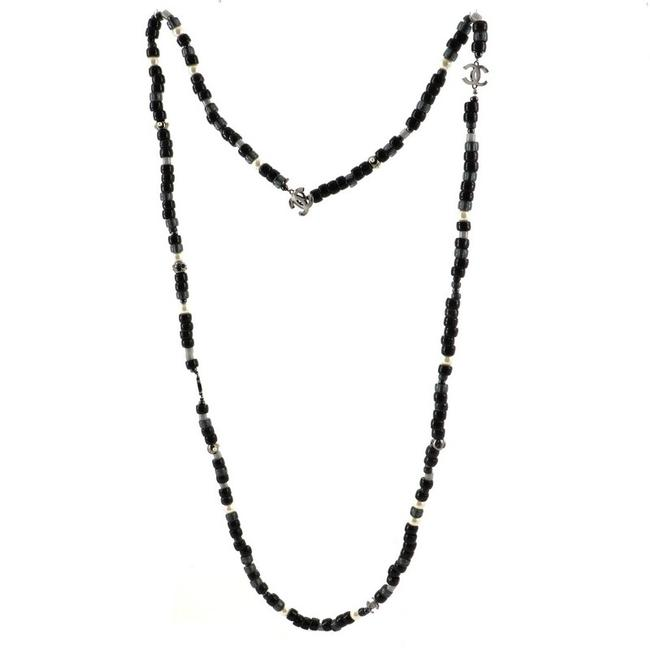 Item - Black Cc Long Faux Pearls and Beads Necklace