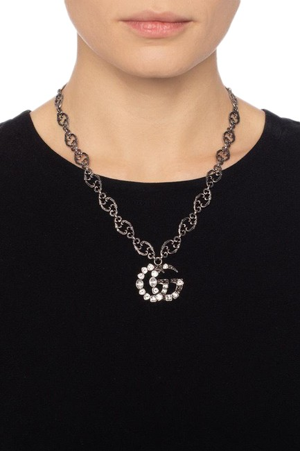Item - Grey Double G Crystal Necklace