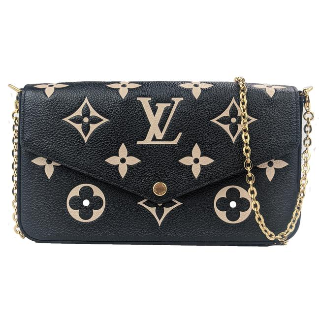 Item - Pochette Felicie Bicolor Crafty Limited Edition Giant Monogram Tourterelle Gray Cream Leather Cross Body Bag