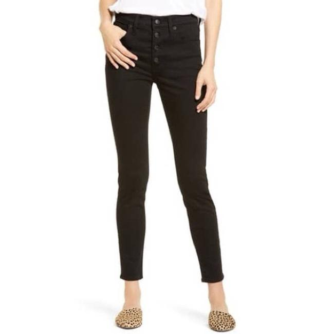 """Item - Black Dark Rinse 9"""" Mid-rise Exposed Button Skinny Jeans Size 24 (0, XS)"""