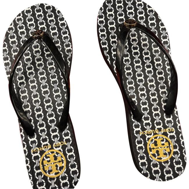 Item - Black with White Chain Detail Black and Gold Logo Rubber Thin Flip Flop Sandals Size US 6.5 Regular (M, B)