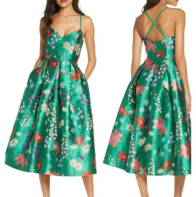Item - Red Green Floral Chiffon A-line Midi Mid-length Cocktail Dress Size 8 (M)