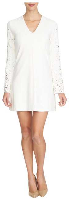 Item - Ivory 'shayna' Embellished Bell Sleeve Shift Beaded Crystal Sold Out Mid-length Cocktail Dress Size 4 (S)