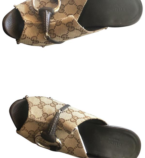 Item - Brown and Beige with Silver Buckle and Studs. Signature Mules/Slides Size EU 38 (Approx. US 8) Regular (M, B)