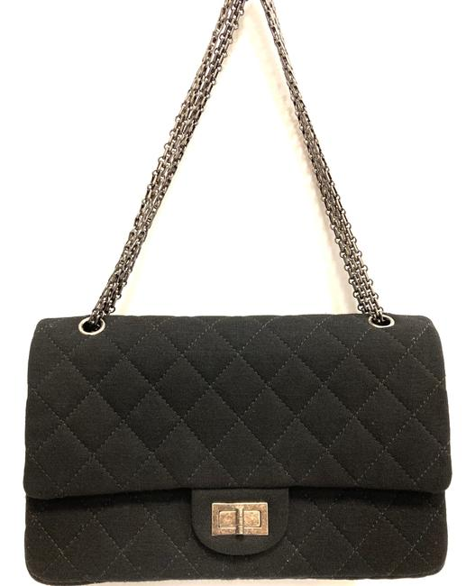 Item - Double Flap Jersey Quilted Black Cross Body Bag