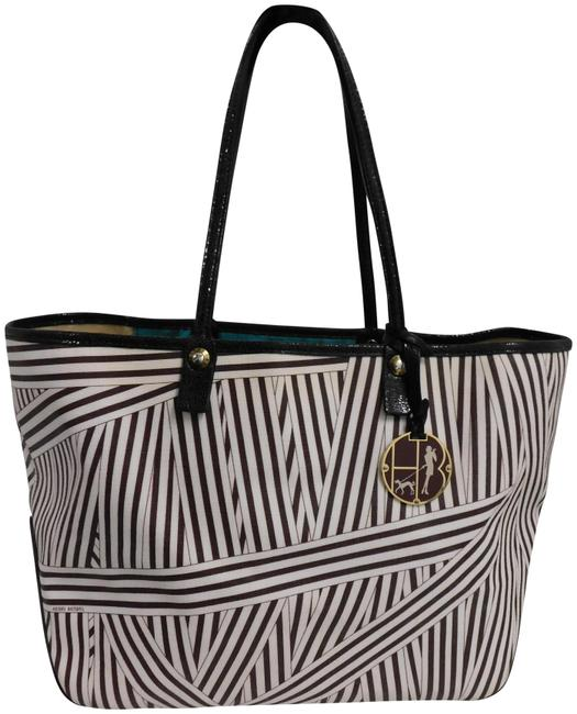 Item - Bag Stripe Black Leather Large Brown White Coated Canvas Tote