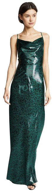 Item - Black Green Women's Cowl Bias Gown Long Cocktail Dress Size 2 (XS)