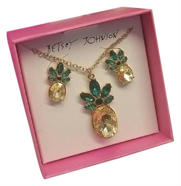 Item - Yellow Green Pineapple 3 Pc Gift Set Necklace