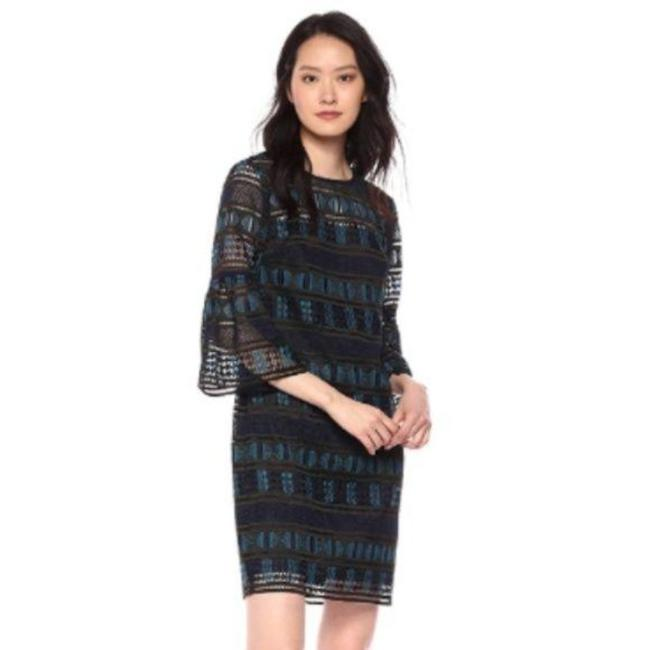 Item - Black and Blue Dreamland Two Tone Geometric Lace Shift Mini Short Cocktail Dress Size 0 (XS)