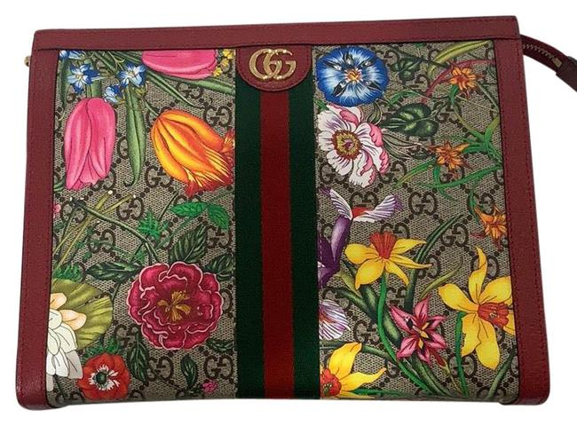 Item - Ophidia Floral Pouch Red / Green Leather Clutch
