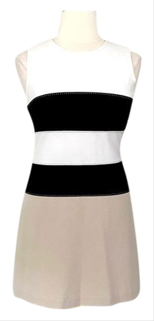 Item - Tan Horizontal Color Block Stitched Mid-length Work/Office Dress Size 12 (L)