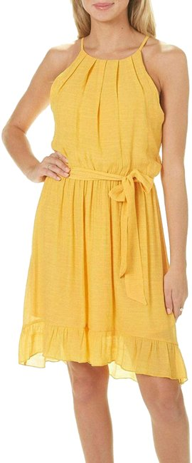 Item - Marigold A. Byer Front-tie Stretchy Halter Short Casual Dress Size 12 (L)