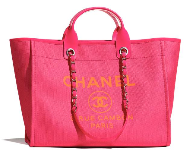 Item - Deauville Tote 21s Orange Large Shopping 30cm 2 Way Silver Chain Pink Canvas Shoulder Bag