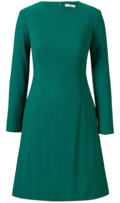 Item - Green Wool Crepe Scallop Detail Cocktail Dress Size 4 (S)