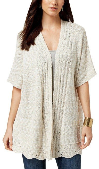 Item - Natural Heather Beige Pointelle Lightweight Short-sleeve Sweater Cardigan Size 14 (L)