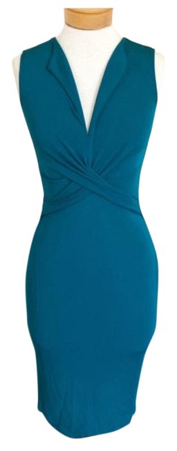 Item - Teal Twist Waist Bodycon Mid-length Cocktail Dress Size 6 (S)