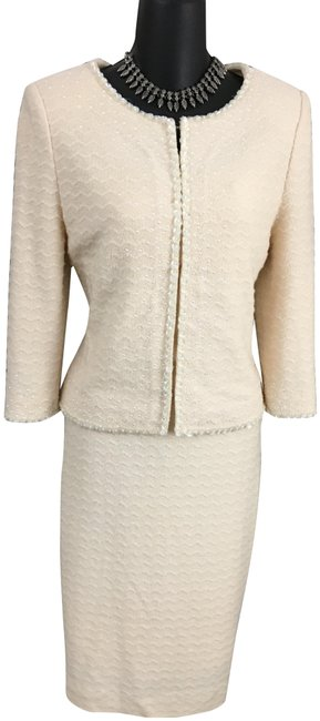 Item - Ivory Cream Couture Knit Pearl Jacket Skirt Suit Size 2 (XS)