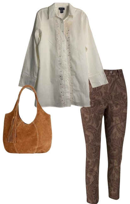 Item - White Tan Floral Embroidered Tunic Style Button-down Top Size 8 (M)