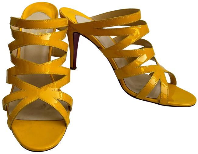 Item - Yellow Patent Leather Cage Stiletto Mule Sandals Size US 9 Regular (M, B)