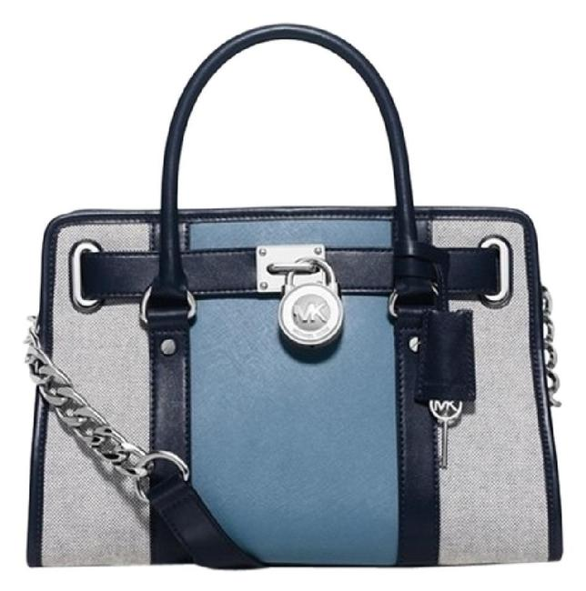 Item - East West Hamilton Center Stripe (New with Tags) Navy/Sky Blue/ Grey/ Silver Saffiano Leather & Canvas Satchel