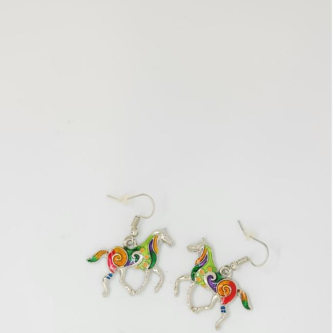 Item - Multi Color Crazy Cute Silver Enamel Prancing Ponies Horse Earrings
