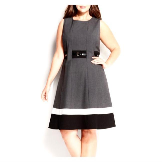 Item - Gray Color Block Fit & Flare Mid-length Work/Office Dress Size 16 (XL, Plus 0x)