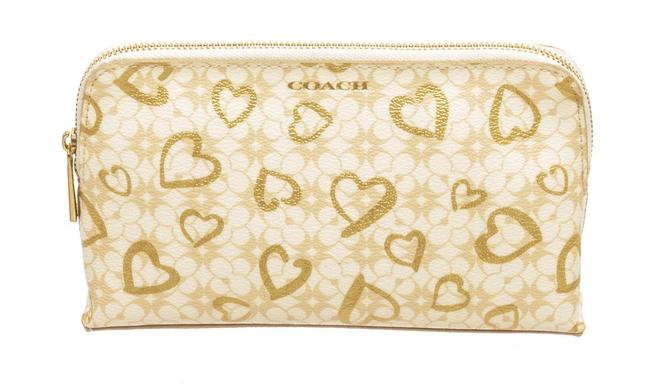 Item - Beige Pouch Coated Canvas Hearts Cosmetic Bag