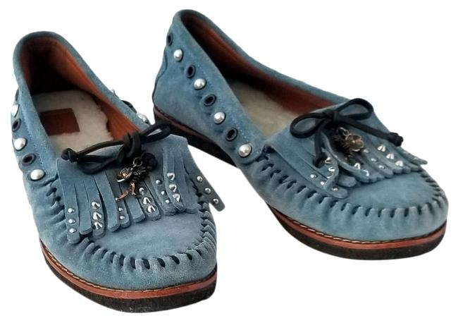 Item - Blue Chambray Roccasin Moccasin with Charm Detail Flats Size US 9.5 Regular (M, B)