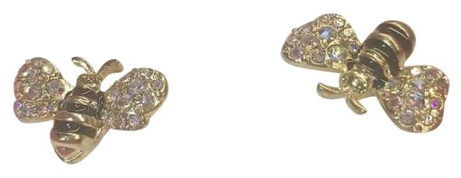 Item - Green Gold Multi 3d Crystal Bumble Bee Earrings