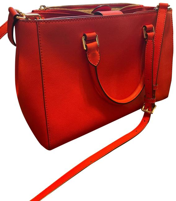 Item - Tote Red Faux Leather Cross Body Bag