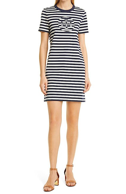 Item - Navy/ New Ivory with Tag Logo Stripe T-shirt Short Casual Dress Size 12 (L)