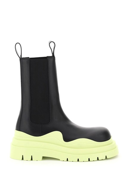 Item - Black/Green/Yellow Tire Leather Chelsea Boots/Booties Size EU 38 (Approx. US 8) Regular (M, B)