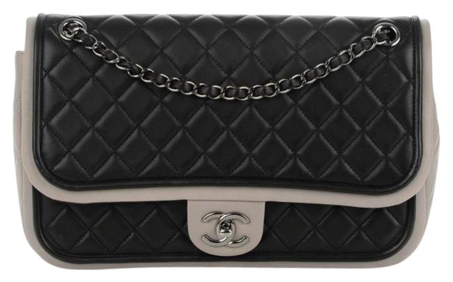Item - Twist Quilted Classic Flap Black and Gray Lambskin Leather Cross Body Bag