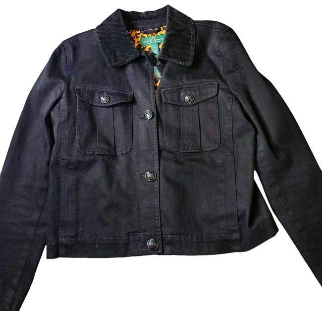 Item - Black Vintage 1990s Button Up Corduroy Collar Jacket Size 8 (M)