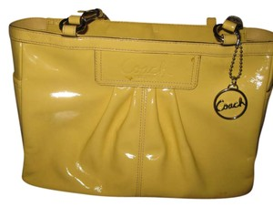 491d4df126 Coach Tote in Yellow. Coach Pleated Patent Gallery Purse Canary Yellow  Leather Tote
