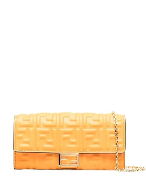 Item - Wallet on Chain Double Ff Baguette Continental Yellow Leather Shoulder Bag