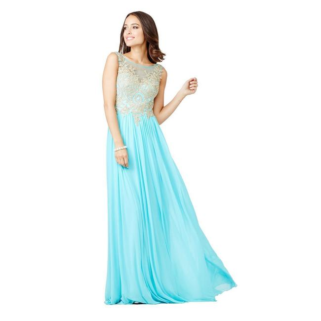 Item - Blue Illusion Embroidered Embellished Gown Long Formal Dress Size 6 (S)