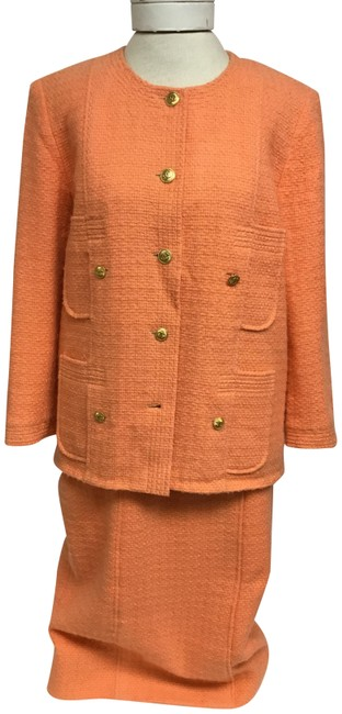 Item - Orange Vintage Tangerine Tweed Skirt Suit Size 8 (M)