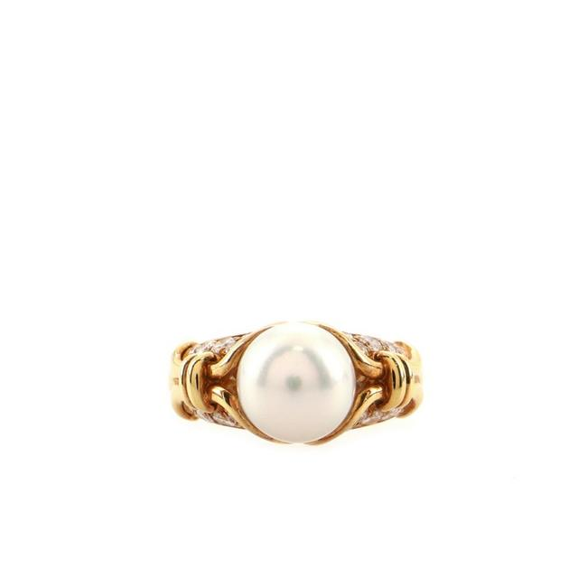 Item - 18k Yellow Gold Vintage Passo Doppio with Pearl and Diamonds 6 Ring