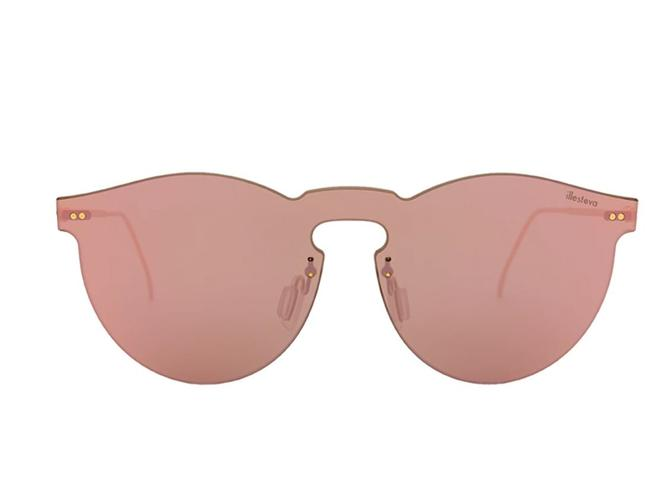 Item - Bright Rose Pink and Gold Leonard 2 Mask Col 43 50mm Rimless Mirror Hand Made Italy Sunglasses