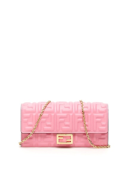 Item - Baguette Continental Chain Wallet Pink Nappa Leather Cross Body Bag