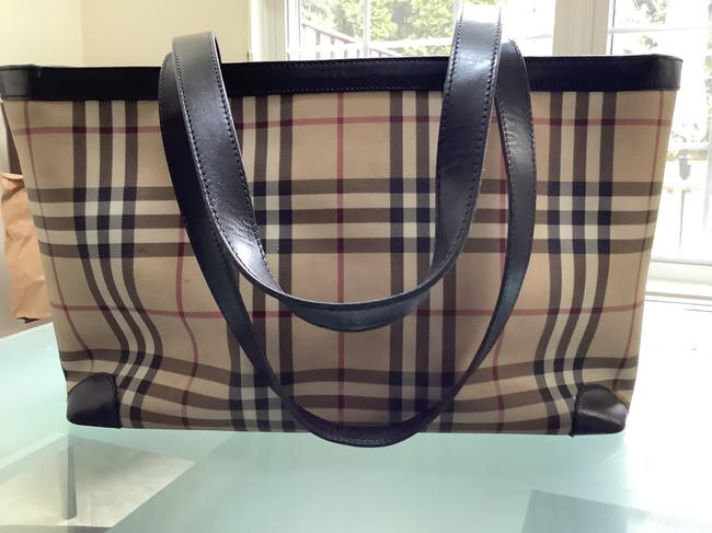 Item - Bag Vintage Black/Beige/Red Check Canvas with Leather Trim Tote